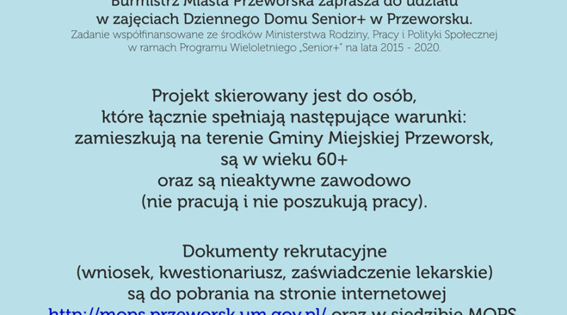 """Rekrutacja Seniorów do Dziennego Domu """"Senior+"""" w Przeworsku"""