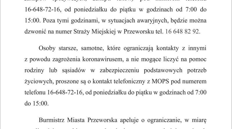 Komunikat Burmistrza Miasta Przeworska